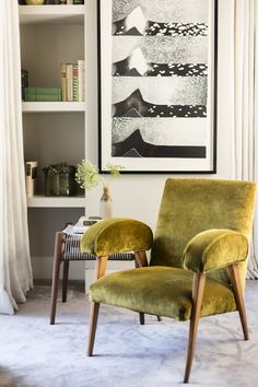 Subtle not necessary    bold chair transforms traditional sitting area