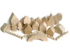 Little Wooden Toy Village - Tiny Wooden Village - Miniature Village. £15.00, via Etsy.