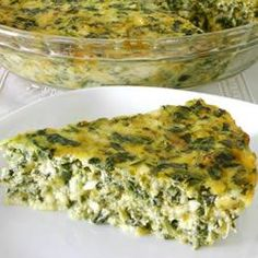 A simple quiche recipe without the pastry - just spinach, spring onions and two cheeses.