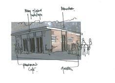 sketch for Cafe Luca in London, Folkestone Gardens - Deptford. Now Festa Sul Prato Italian Restaurant. Floor Plans, Sketch, Gardens, Restaurant, London, Portion Plate, Party, Sketch Drawing, Big Ben London