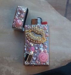 Girly Pink Bling Bic Mini Lighter Case And by TheBohemianGypsy
