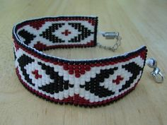 Native American Seed Bead Bracelets | Seed Beads Loom Worked Bracelet with Red Black and White Pattern ...