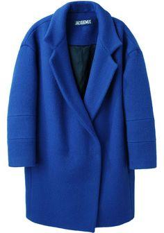 oversized cobalt coat : jacquemus