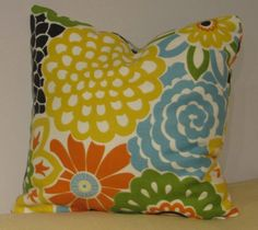 Eye Candy, 12x12 Fresh Mix of Citrus Colors. Bright Floral Pillow Cover, Pillow Sham, Cushion Cover