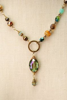 crisp014 unique handcrafted antique brass layered chunky gemstone agate crystal dangle pendant necklace for women
