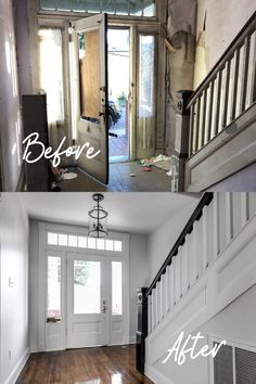 These before and after renovation photos in the historic Union Hill neighborhood of Church Hill is shockingly one of the easiest renovations we have done. The house itself actually had really good bones! Easy Renovations, Patio Remodel, Home Remodeling, Interior Renovation, Diy Remodel, Home, Entryway Decor, Decorating Small Spaces, Home Decor Tips