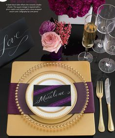 rich gold and purple wedding table  more inspiration @ http://www.modernrani.com
