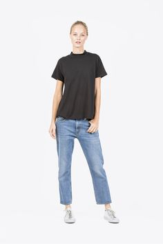Helen Mock Neck Tee, Black by Calder #kickpleat #objectswithoutmeaning #owm
