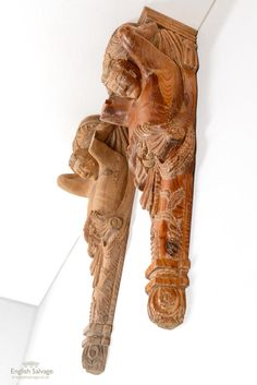 Carved pitch pine ornate male figure corbels Architectural Antiques, Male Figure, Pitch, Hand Carved, Lion Sculpture, Woodworking, Carving, Interior, Indoor