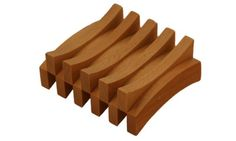 Beech Wood Double Curved Rectangle Soap Dish, L 3¾ - W 3½ - H 1½ $18
