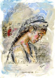 """""""it's de-lovely"""" mixed media girl with vintage music and old papers in background, pencil sketch and waterbased markers."""