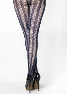 Patterned Navy Stockings