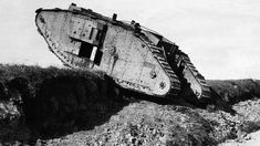 A British tank at the western front in France.
