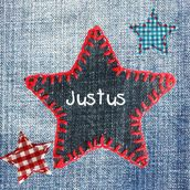 Stoer spijkerstof geboortekaartje met sterren | birth announcement cards, jeans, stars