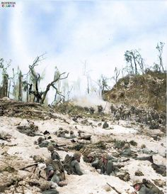 The Battle of Peleliu, codenamed Operation Stalemate II  Men of the 5th Marine Regiment, US 1st Marine Division fighting their way up Beaches 'Orange' 1 and 2, Peleliu, Pacific. 15 Sep 1944.