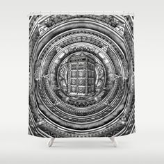 Phone box Doctor Aztec time lord black and white pencils sketch Shower Curtain #tardis #doctorwho #police #publiccallbox #phonebox #aztec #vangogh #davidtennant #starrynight