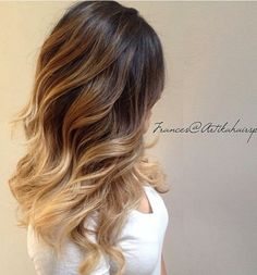 Love this ombre hair color and hair style.