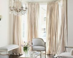 This kind of photo is certainly a striking style approach. Living Room Drapes, Bedroom Drapes, Master Bedroom, Satin Curtains, Silk Curtains, Champagne Living Room, Cream Bedrooms, Custom Drapes, Window Styles