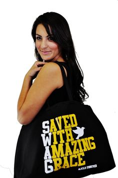 $19.99 -Saved With Amazing Grace Giant Tote by JCLU Forever Christian t-shirts