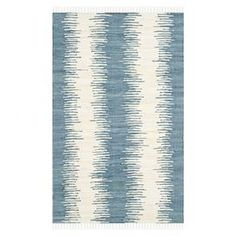 "Add a stylish touch to your living room or den with this hand-woven cotton rug, showcasing an abstract motif in blue.  Product: RugConstruction Material: CottonColor: BlueFeatures:  Hand-wovenMade in India  Pile Height: 0.5""  Note: Please be aware that actual colors may vary from those shown on your screen. Accent rugs may also not show the entire pattern that the corresponding area rugs have.Cleaning and Care: Professional cleaning recommended"