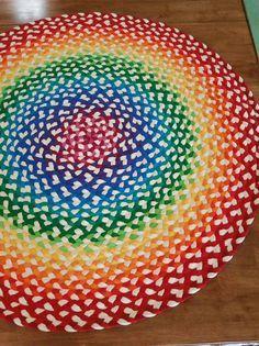 Braided rug Modern rainbow colors by greenatheartrugs on Etsy