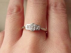 Art Deco Geometric Diamond Ring Platinum and 18k by luxedeluxe