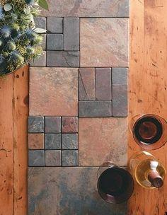 Handmade ceramic tile table runner