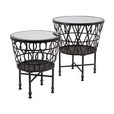 Imax Zaria Drum Mirrored Accent Tables - Set of 2 - 47640-2