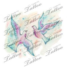 Doves  colour tattoo design