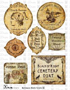 Haunted Halloween Spooky Bottle Labels II - 8.5 x 11 inch Printable Digital Collage Sheet -  Bottle Labels. via Etsy.