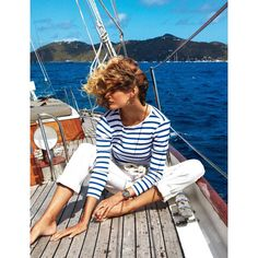 Edita Vilkeviciute Sails The High Seas, Lensed Buy Gilles Bensimon for... ❤ liked on Polyvore featuring models, nautical, people, backgrounds and editorials
