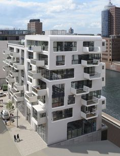 The kind of apartment in my dream! Impressive Apartment Building in Hamburg by LOVE Architecture. The architecture shows much love! Facade Architecture, Futuristic Architecture, Residential Architecture, Contemporary Architecture, Amazing Architecture, Facade Design, Exterior Design, House Design, Amazing Buildings
