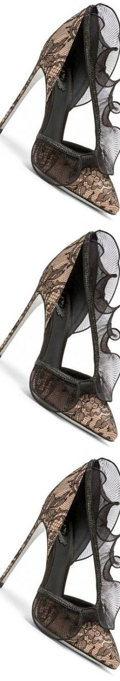 Rene`Caovilla Fall Winter 2017 Lace And Satin Court Shoe