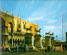 Giovanni Antonio Canal (called Canaletto) Venice: Capriccio With The Four Horses From The Cathedral Of San Marco Oil Painting Reproductions for sale Italian Painters, Italian Artist, Santa Lucia, Art Gallery, Renaissance, European Paintings, Grand Canal, Oil Painting Reproductions, Urban Landscape