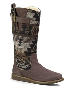 Another great find on #zulily! Brown & Black Geometric Siena Suede Boot - Women #zulilyfinds