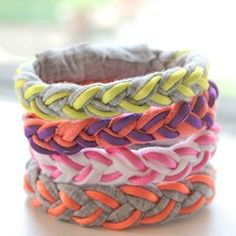 Recycle old T-shirts into pretty bracelets. Easy magnet closure! These look awesome and so fun to wear.  Great gift for a teenager (boy or girl)