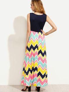 Multicolor Chevron Print Tank Dress -SheIn(Sheinside)