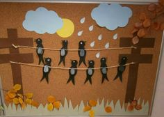 Paper cut autumn - New Deko Sites Autumn Crafts, Autumn Art, Autumn Theme, Spring Crafts, Bird Crafts, Diy And Crafts, Crafts For Kids, Arts And Crafts, Paper Crafts