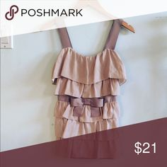 NWT Anthropologie Ruffle Bow Tank Sold out! Gorgeous top by Bordeaux from Anthropologie! Mauve color with a combination of knit and silky polyester. I discount bundles 25%🎀 Anthropologie Tops Blouses