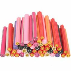50 Pc Cute Smiling Face 3D Nail Art Nailart Manicure Fimo Canes Sticks Rods Stickers Gel Tips Deco by Crazy Cart. $3.91. Features: 1. New and high quality 2. Multi color smiling face canes, more choose for you 3. Each cane is 5cm in length and can be cut into 100pcs 4. Easy way to DIY your beautiful nails 5. You can cut the cane into your desirable thickness to fit your nail art design 6. It can be applied to the nails with nail polish, UV builder gel and so on 7. It can be used...