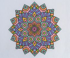 PATTERN Statement Mandala Cross Stitch Chart Bright Modern