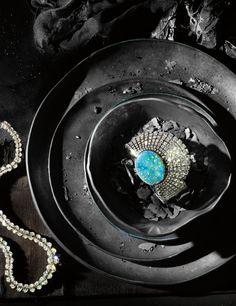 Fire Starters - Best Diamonds - W Magazine May 2015 - Graff white oval diamond graduated necklace; Cartier opal and diamond watch