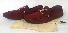 100% Auth LOUIS VUITTON Monte Carlo Suede Loafer Driving Shoes Burgundy/Plum 7.5…