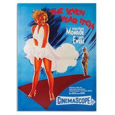 Comprar Cuadro Póster de Cine Marilyn Monroe The Seven Year Itch 50 x 70 al mejor precio. Si te consideras un cinéfilo y fan incondicional de Marilyn Monroe, ahora puedes decorar las paredes de tu hogar con los carteles de cine de las películas de esta mítica actriz. Cuadros en lino sobre marco de madera con diseños vintage y coloridos.
