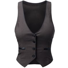 J.TOMSON Womens Button Down Vest BLACK MEDIUM (8.405 CLP) ❤ liked on Polyvore featuring outerwear, vests, tops, jackets, button down vest, button up vest and vest waistcoat