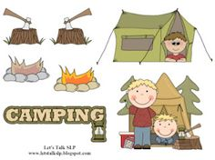 Camping themed barrier game from the blog, Let's Talk Speech-Language Pathology