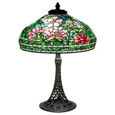 Tiffany Studios 'Peony' Table Lamp on Rare Openwork Base | From a unique collection of antique and modern table lamps at https://www.1stdibs.com/furniture/lighting/table-lamps/