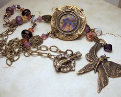 Lampwork Necklace Victorian Style with by StoneDesignsbySheila, $98.00