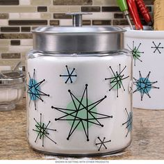 Atomic Starburst Franciscan Style Jar with Metal Lid 96 oz | Glass Kitchen Jars | RetroPlanet.com