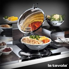Forget the standard bain marie for warm-holding.... the Oyster Chafer for induction is an elegant alternative with dual compartment food pan and excess moisture recovery system